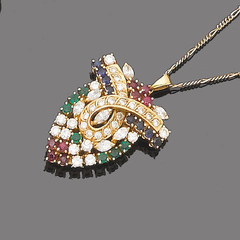 A sapphire, emerald, ruby and diamond pendant