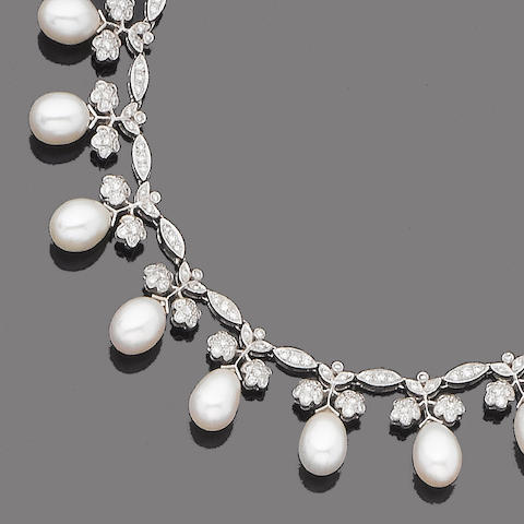 A cultured pearl and diamond fringe necklace