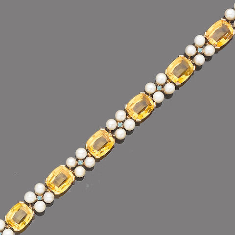 A citrine, cultured pearl and turquoise bracelet