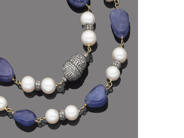 A tanzanite, cultured pearl and diamond necklace