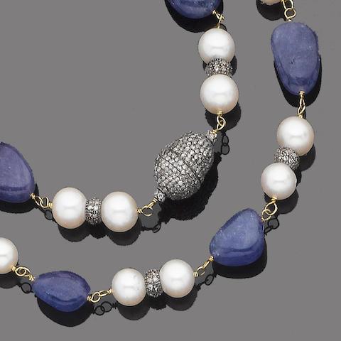A tanzanite, cultured pearl and diamond necklace