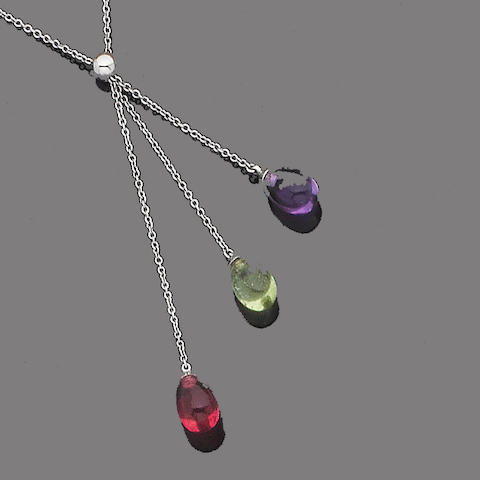 A multi-coloured gem pendant necklace, by Tiffany & Co.