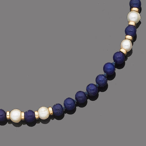 A lapiz lazuli and cultured pearl necklace