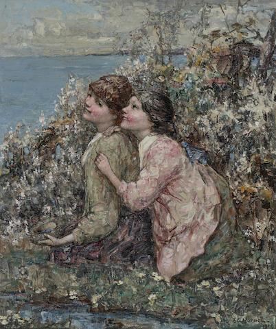 Edward Atkinson Hornel (British, 1864-1933) The bird's nest