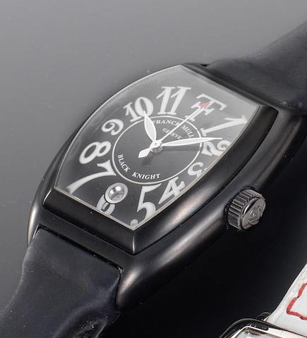 Franck Muller. A rare blackened steel cased automatic wristwatch limited to an edition of 25 pieces and designed in collaboration with Theo FennellBlack Knight, Number 02/25, Circa 2005