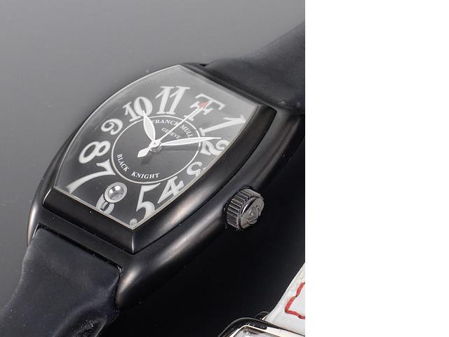 Franck Muller. A rare blackened steel cased automatic wristwatch limited to an edition of 25 pieces and designed in collaboration with Theo Fennell Black Knight, Number 02/25, Circa 2005