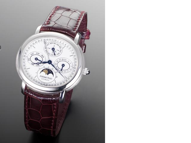 Audemars Piguet. An 18ct white gold automatic wristwatch with perpetual calendar and moonphase Millenary, Number 020, Case Reference D 80 756, Recent