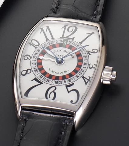 Franck Muller. An 18ct white gold automatic special edition wristwatch with spinning roulette wheel dial Vegas, Reference 5850, Number 201, Recent