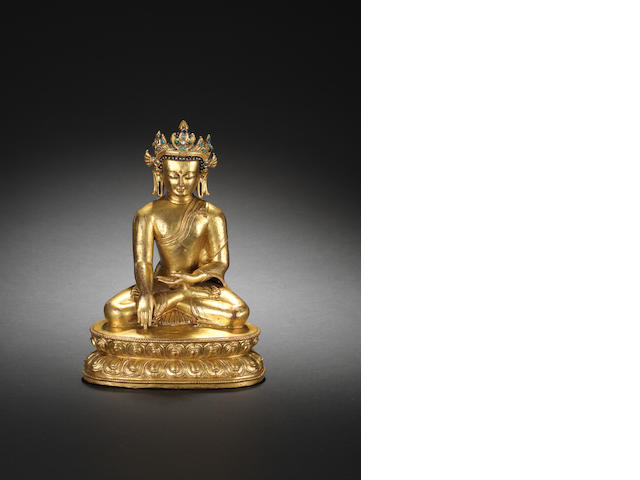 A gilt-bronze and inlaid Bodhisattva 17th/18th century