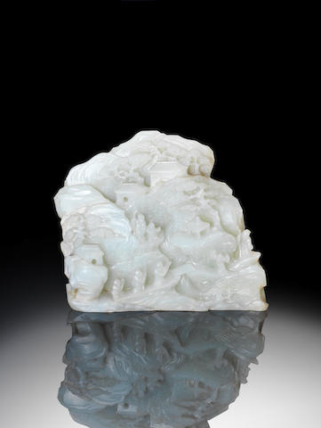 A slender jade 'mountain landscape' group  18th century