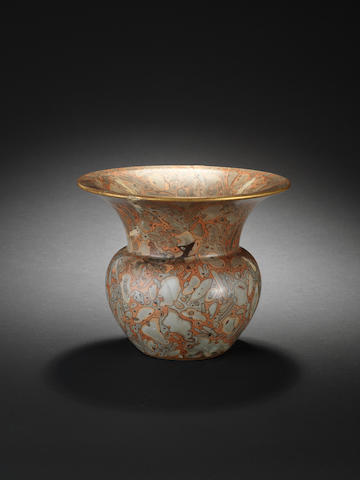 A rare simulated puddingstone vase, zhadou Gilt Qianlong seal mark and of the period