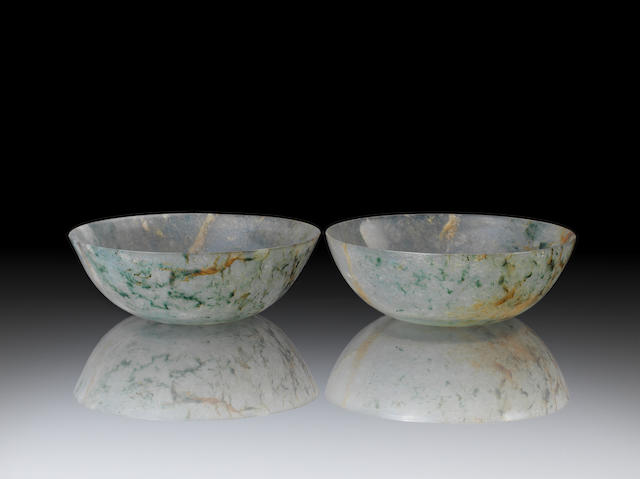 A pair of jadeite bowls 19th century