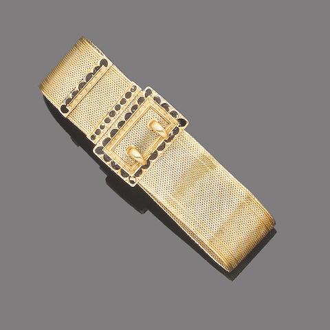 A mid 19th century fancy-link jarretière bracelet