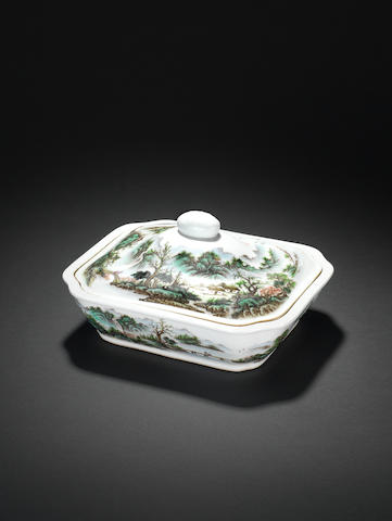 A famille rose rectangular shallow tureen and cover Painted by Zhang Zhitang (1893-1971)