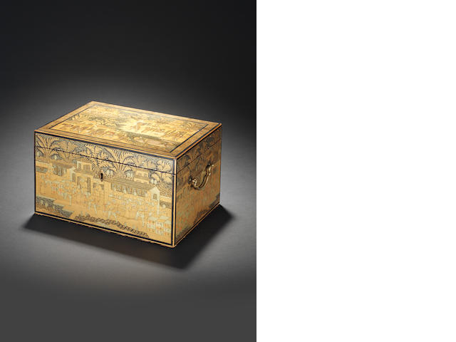 A Canton lacquer pewter-lined rectangular tea caddy First half of the 19th century