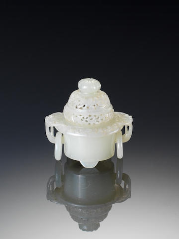 A miniature white jade tripod two-handled incense burner and cover Late Qing Dynasty