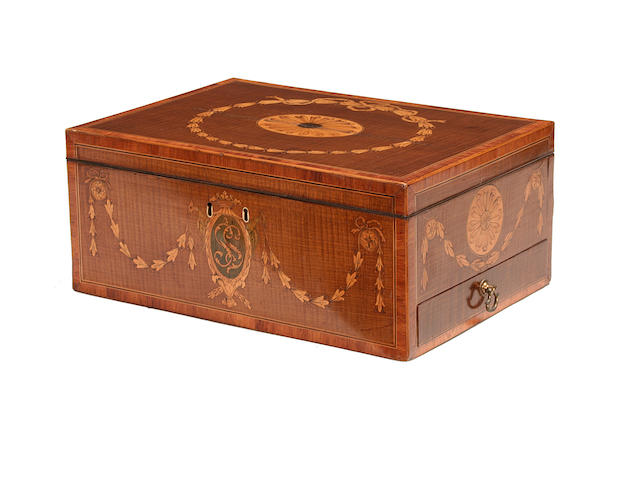 A George III sycamore, tulipwood crossbanded and marquetry writing box