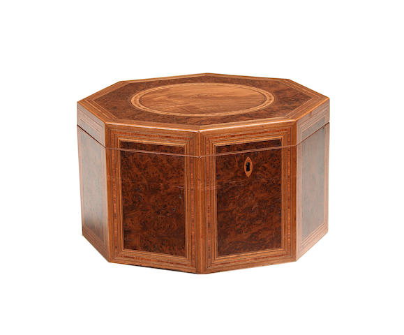 A George III burr yew, padouk and satinwood banded octagonal work box