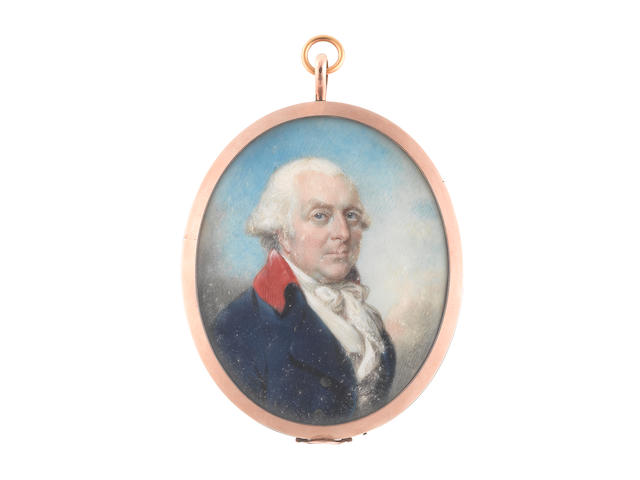 Philip Jean (British, 1755-1802) John Jervis, 1st Earl of St Vincent (1735–1823), wearing blue coat with red collar, white waistcoat, stock and tie