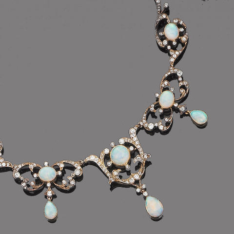 A late 19th century opal and diamond fringe necklace