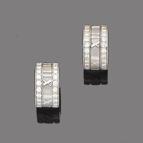 A pair of diamond-set 'Atlas' earhoops, by Tiffany & Co.