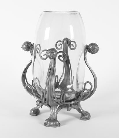 Glass vase with metal surround/stand, stand stamped Omar Ramsden, glass - J Powell