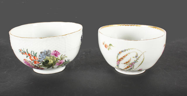 A Meissen cup and a Meissen sugar bowl