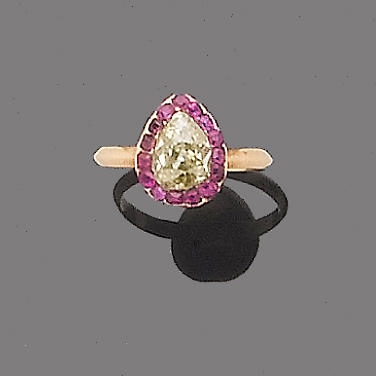 A 19th century ruby and diamond cluster ring