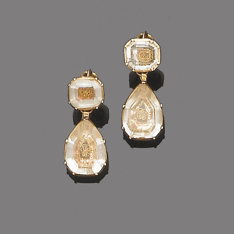 A pair of early 18th century rock crystal pendent earrings