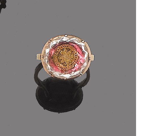 A rock crystal ring,