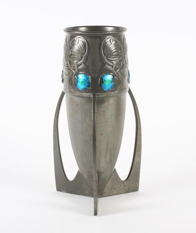 A Tudric pewter vase with enamel motifs
