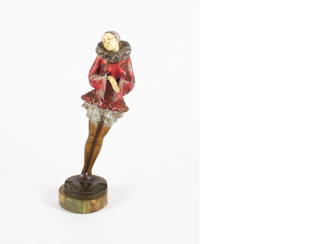 AA cold painted bronze figure, one hand missing and thumb chipped