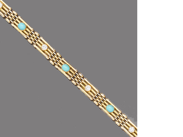 A turquoise and diamond bracelet,