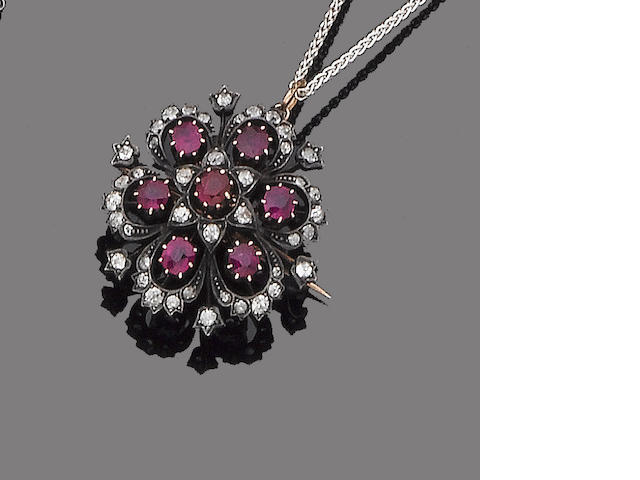 A late 19th century ruby and diamond brooch/pendant