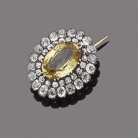 A 19th century chrysoberyl and diamond cluster brooch
