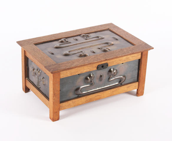 Oak & copper cigarette box