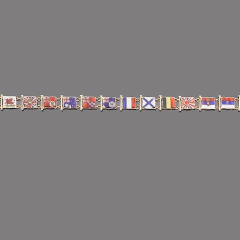 An enamel flag bracelet