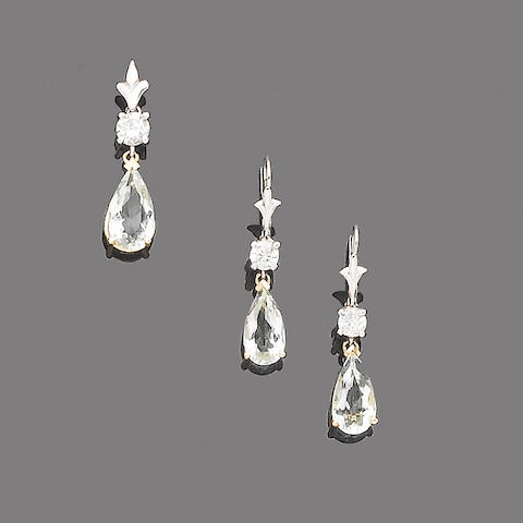 An aquamarine and diamond pendant and earring suite (2)