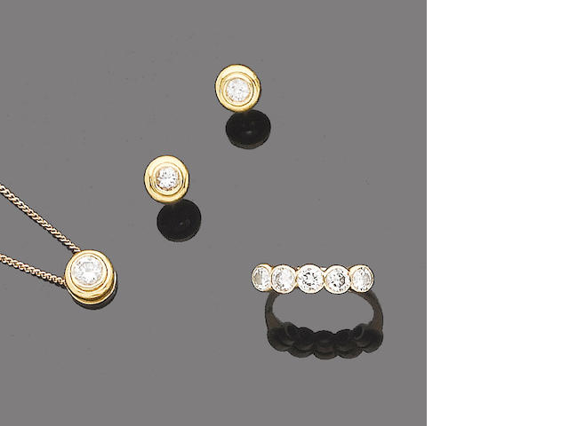 A diamond five-stone ring, pendant necklace and earring suite  (3)