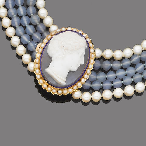 A hardstone, chalcedony and cultured pearl cameo necklace