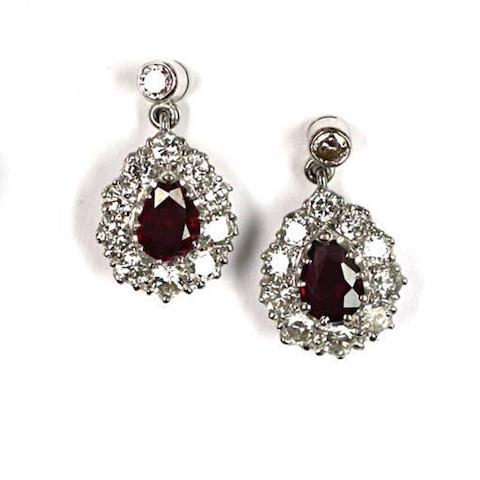 A pair of diamond and ruby cluster drop earpendants