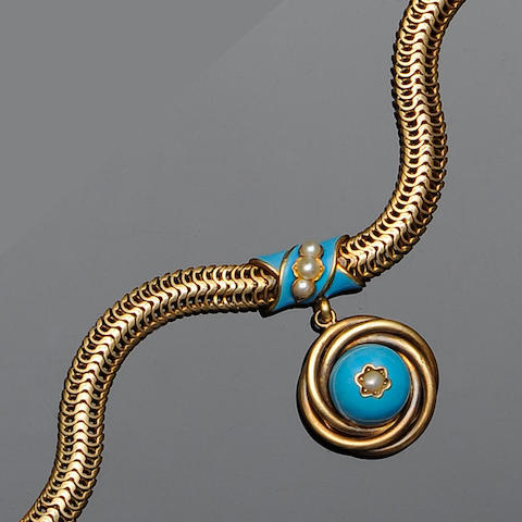 A Victorian turquoise enamel and seed pearl bracelet