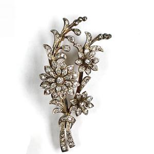 A Victorian diamond floral spray brooch