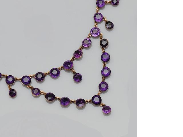 A 19th century amethyst swag necklace