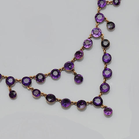 A 19th century amethyst swag necklace