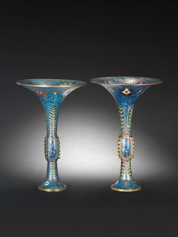 A pair of cloisonné enamel flaring beaker vases, gu 17th century