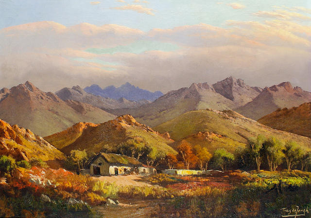 Marthinus (Tinus) Johannes de Jongh (South African, 1885-1942) A farmstead in a mountain landscape