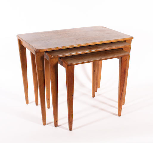 A Gordon Russell nest of three walnut tables