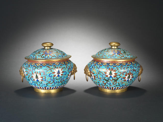A pair of cloisonné enamel jars and covers 19th century