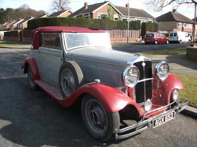 1933 Wolseley 21/60hp County Drophead Coupé  Chassis no. 109/34 Engine no. 144A/84